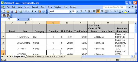 inventory household items excel spreadsheet