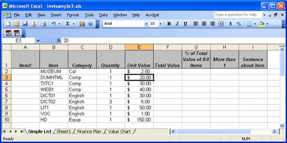excel grocery list