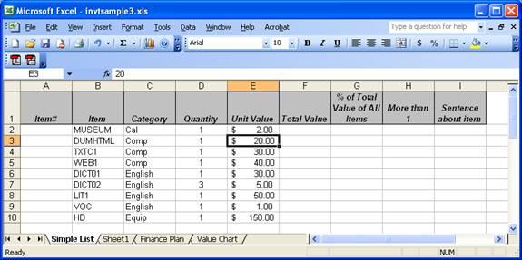 shopping spreadsheet