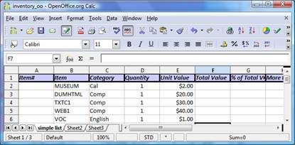 SHOPPING LIST EXCEL EXERCISE: